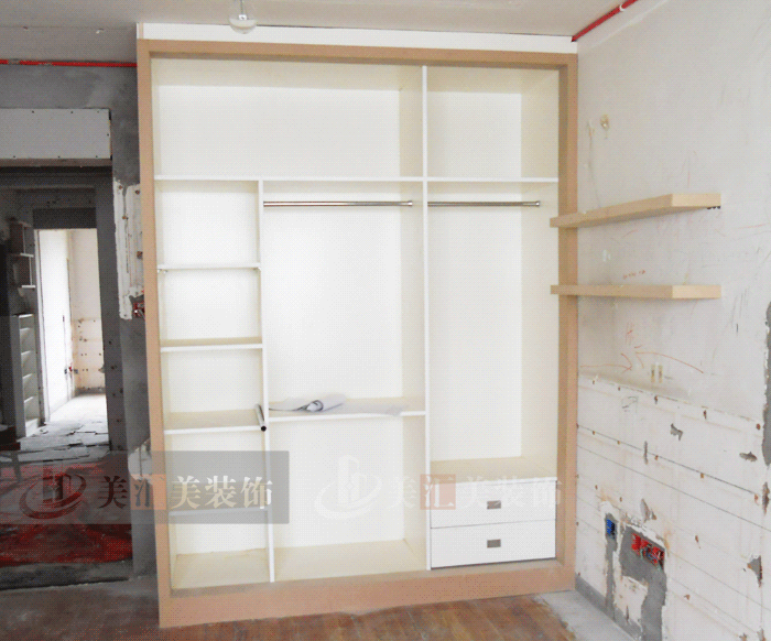 衣柜制作.e0级木工板贴面柜体
