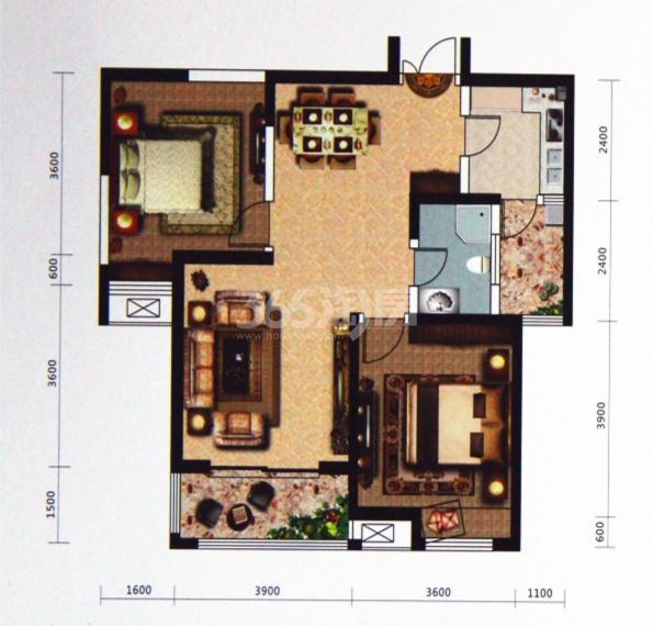 天丰东环广场I2/I3户型图 二室二厅一卫94�O