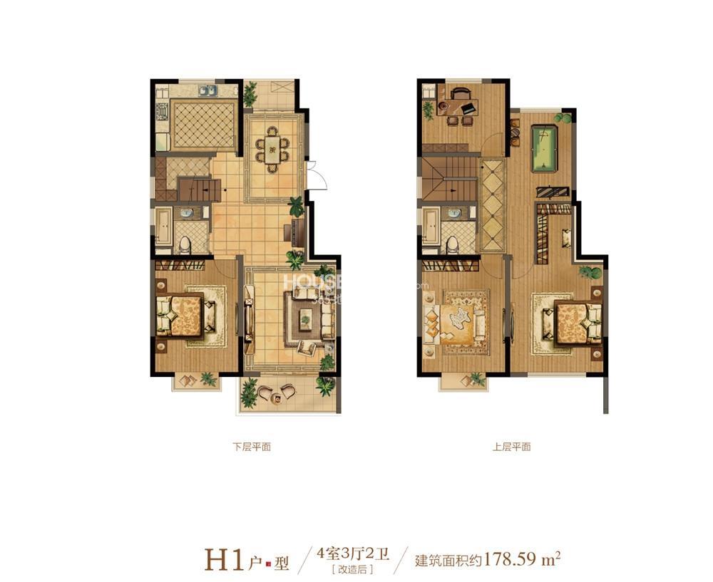 中电颐和府邸一期小高层标准层H1户型 4室3厅1厨2卫