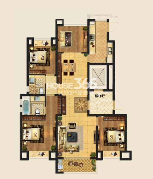 龙湖时代天街二期d4-1户型-样板房户型143平