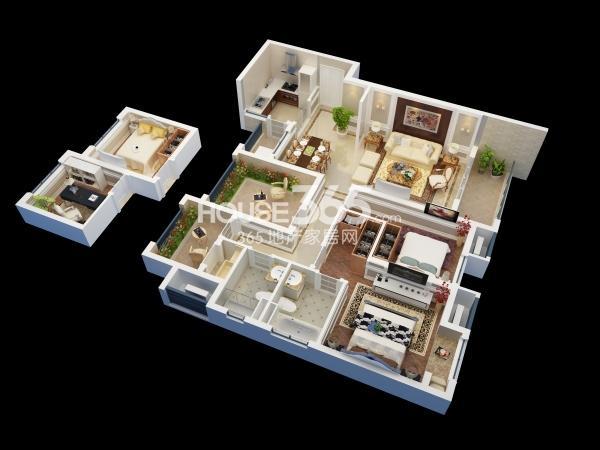 佳兆业广场B户型约123平四室两厅两卫(高层)