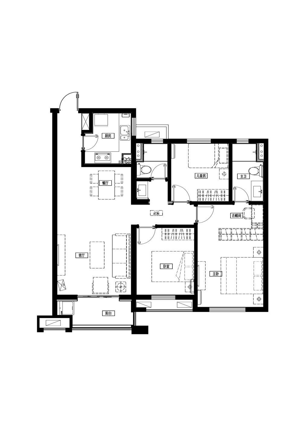 万科城一期标准层A2户型-96平方米 3室2厅2卫1厨