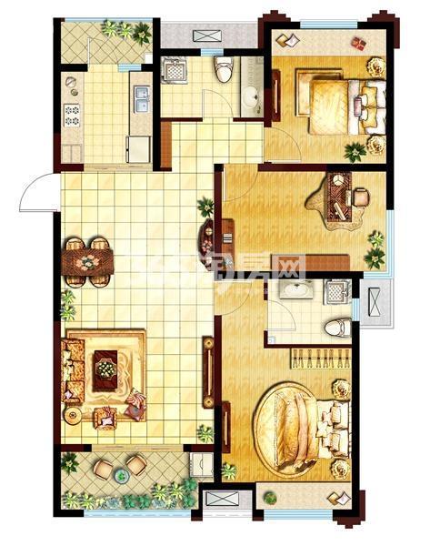 三室两厅两卫  面积:115㎡