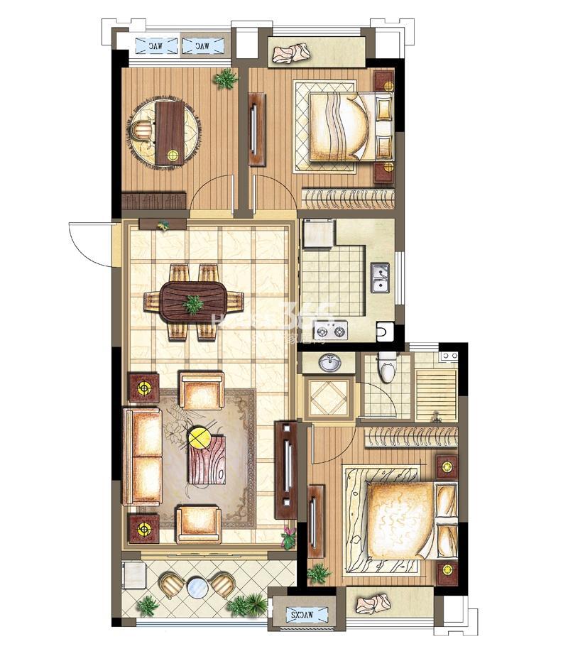 金科观天下B1户型2+1室两厅一卫89平米