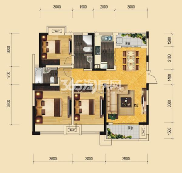 B11#绿地世纪城柏仕公馆 三室一厅一厨两卫 114.64㎡