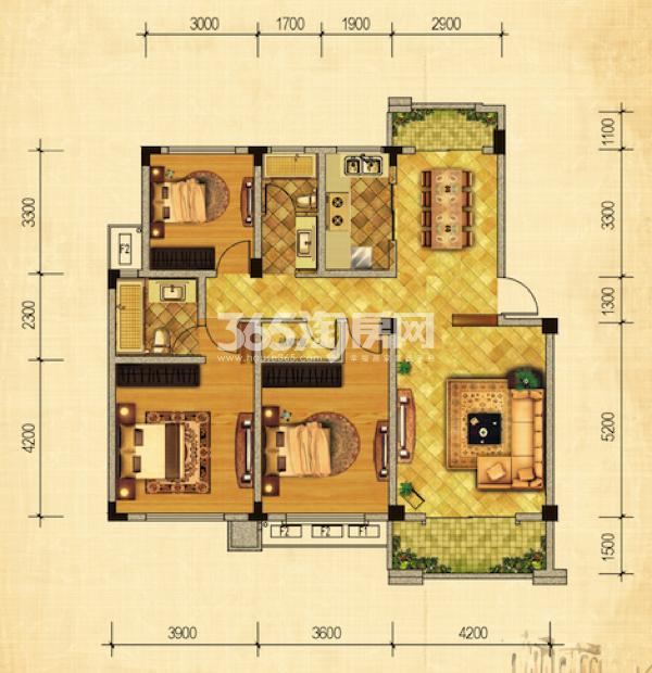 23#绿地世纪城布鲁斯小镇 三室两厅一厨两卫 126.29㎡ 三室朝南
