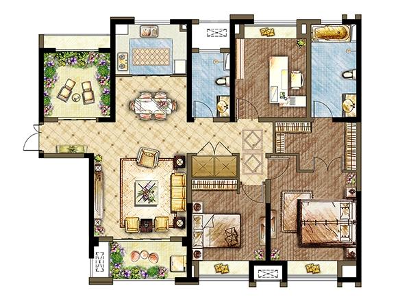 7#8#楼B3户型-四室两厅两卫 140平