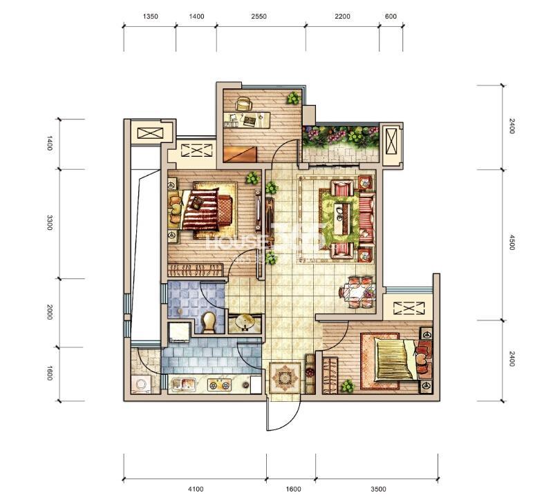 A户型 两室两厅一卫一院馆 套内53平米