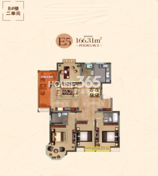 汇鑫群贤北府8#楼二单元E5户型图