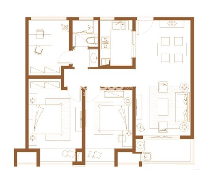 九龙仓碧堤半岛精装高层户型图3室4厅1卫102平