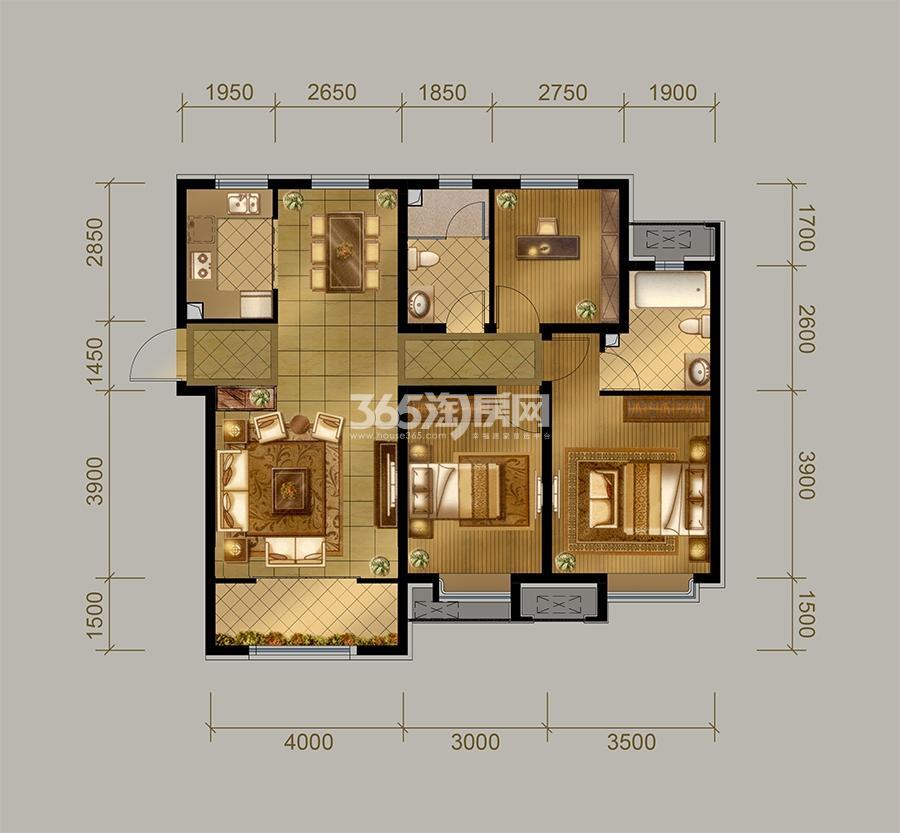 高层D1户型  3室2厅2卫 120㎡(售完)
