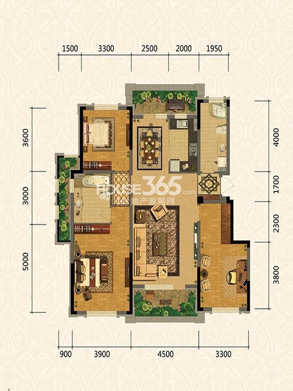 郡原小石城  三室两厅一卫一厨128平方米
