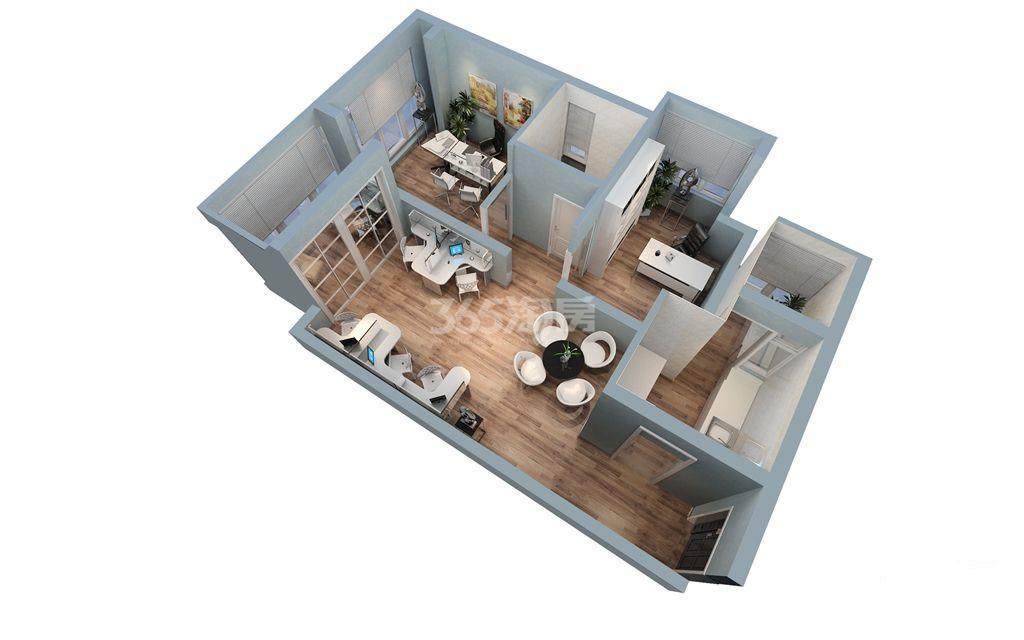 二期公寓d,f户型立体图