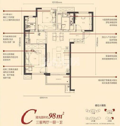 西安新房 长安 万科城 (住宅)  万科城c户型图 户型:3室2厅 面积:98㎡