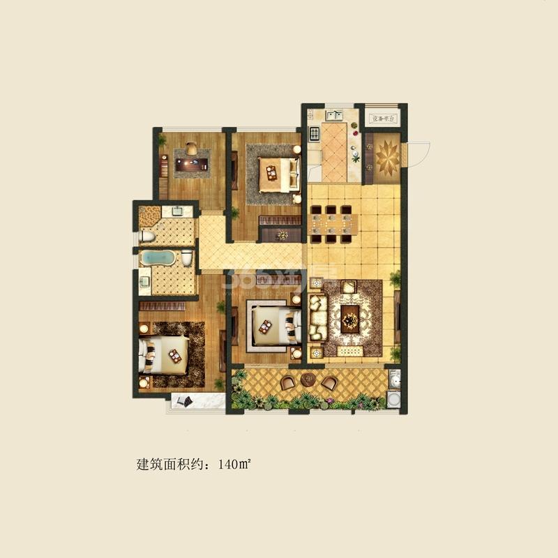 龙湖时代天街3期紫宸户型图140平