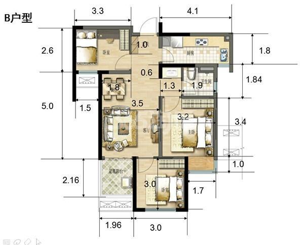 二期B户型88㎡三室两厅一卫