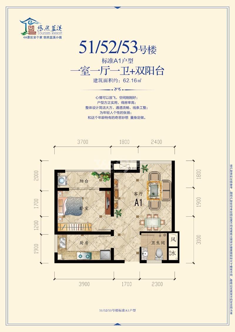 51、52、53#楼标准A1户型 一室一厅一卫+双阳台