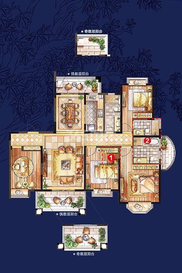 中航樾玺高层67#、76#、84#195平户型图4室2厅3卫
