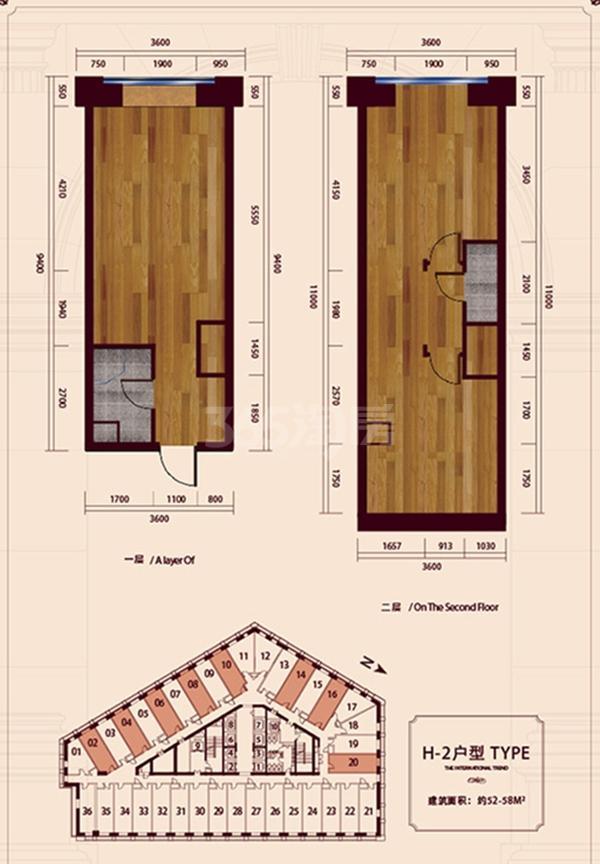 公寓标准层H2户型 1室1厅1卫1厨 58㎡