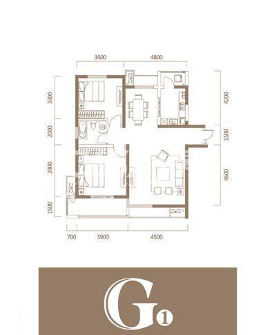 恒基碧翠锦华2期【紫阙】G1户型2室2厅1厨1卫113.75㎡