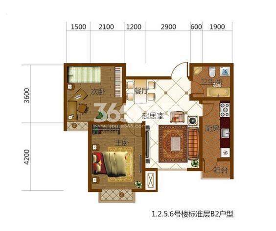 标准层B2户型81㎡2室2厅1厨1卫
