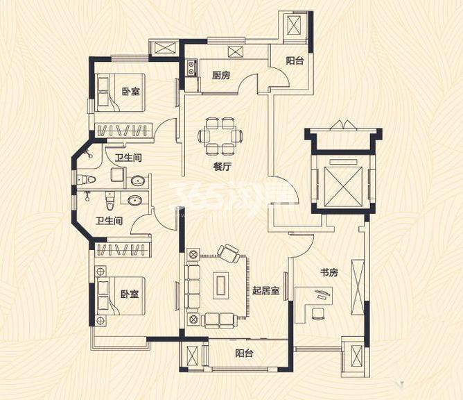 洋房3、4、5号楼标准层F户型 3室2厅2卫 139平米