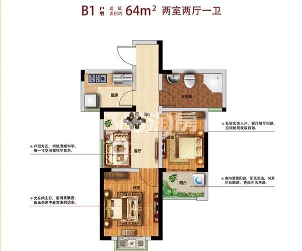 B1户型两室两厅一厨一卫