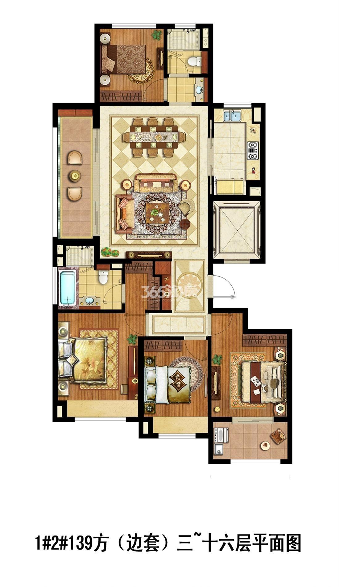 滨江金茂府项目1、2号楼边套B1户型(3-16层平面图) 140㎡