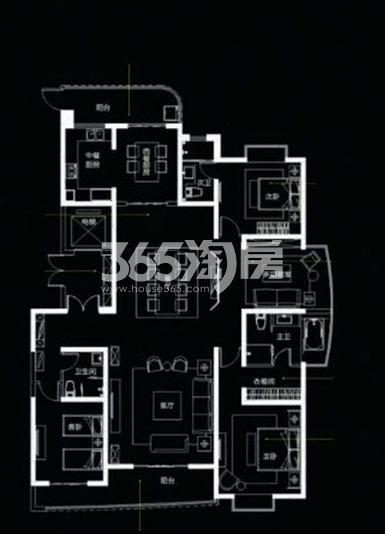 国润城9/10号楼G户型4室3厅1厨3卫199.98㎡