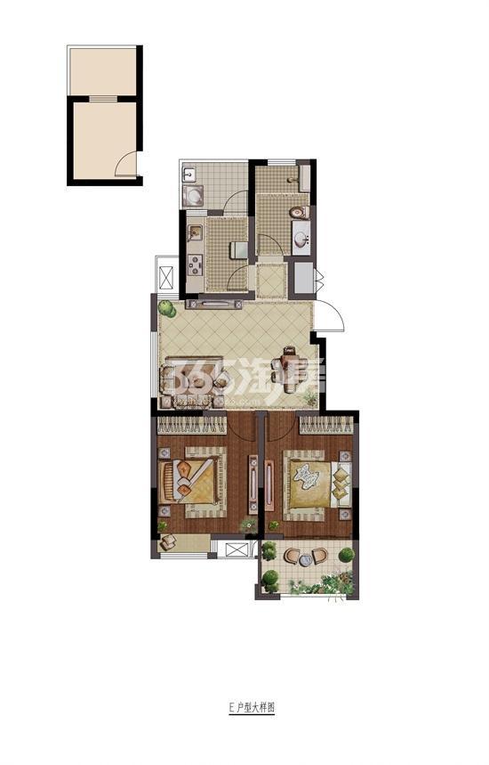 紫金铭苑E户型二房两厅一卫75㎡户型图