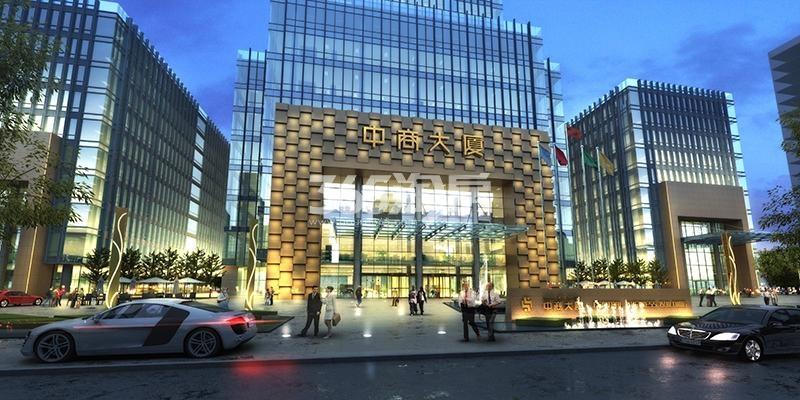 新合作中商大厦大门入口夜景