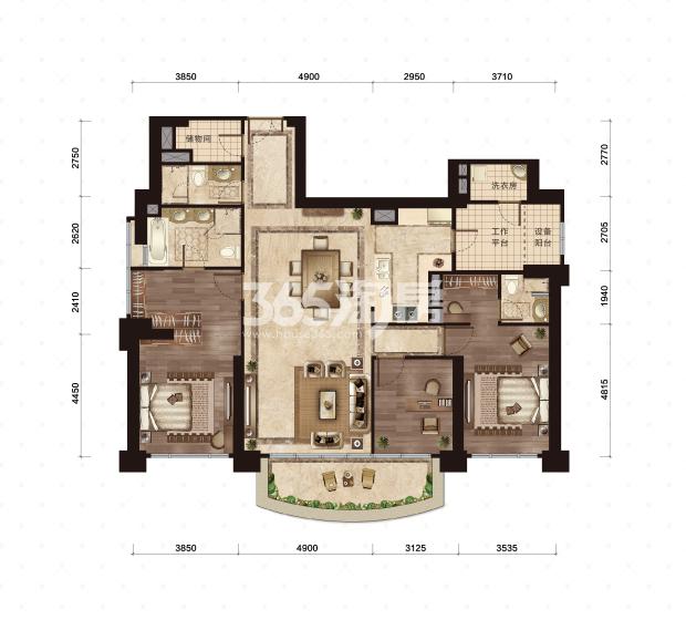 2号楼-2号室 208-223平米 3室2厅3卫