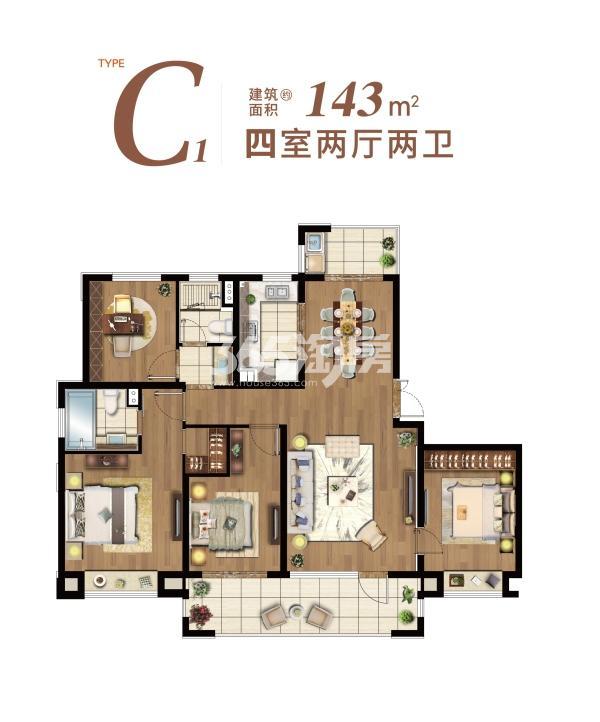 星悦湾名苑C1户型 143平 四室两厅两卫