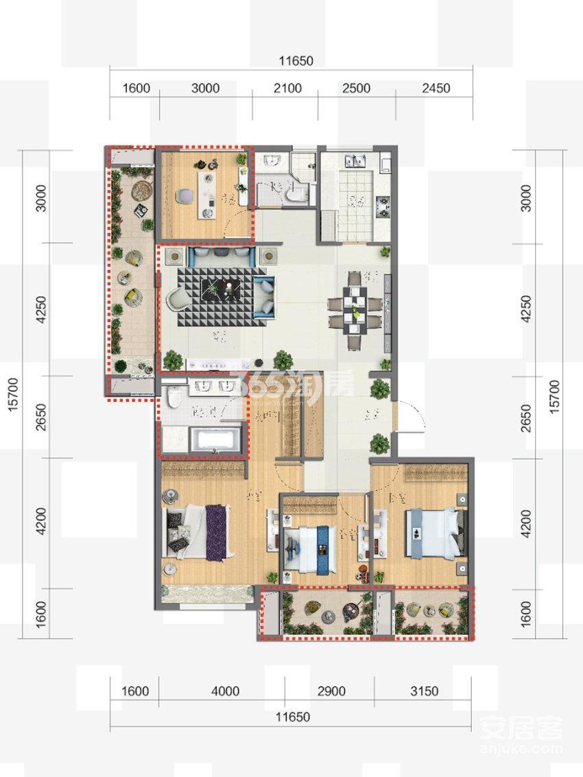 富力新线公园4、5号楼130方四室两厅两卫户型图