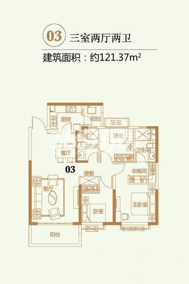 恒大翡翠龙庭1#4#-2户型03室3室2厅2卫1厨121.37㎡