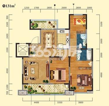 中建昆明澜庭F户型图3室2厅1厨2卫131㎡