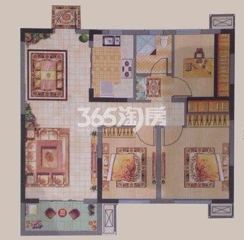 中建昆明澜庭E户型图3室2厅1厨1卫98.58㎡