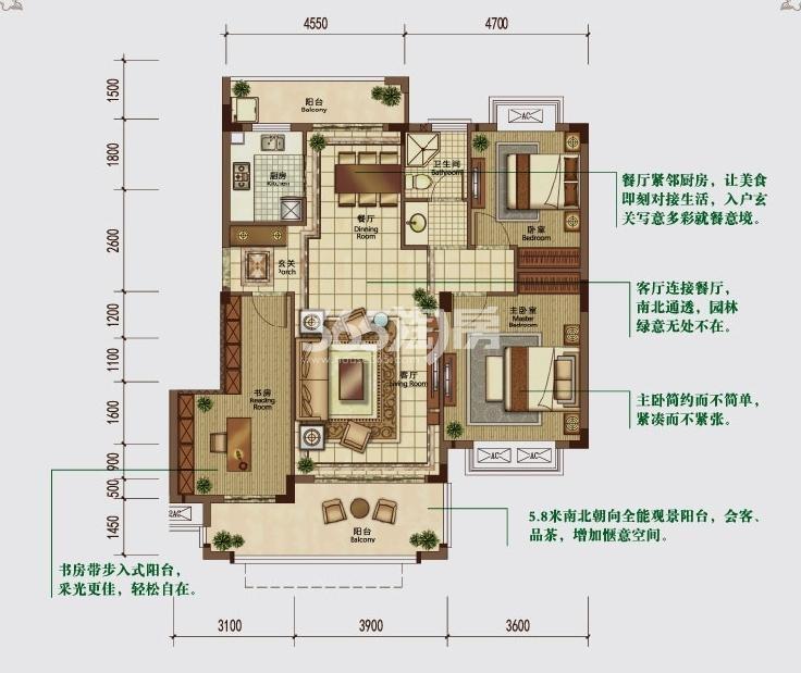 华强城颐景湾畔藏湖DC-2户型图
