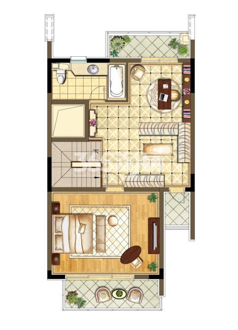 瑞安翠湖山西边02室258㎡B户型三层