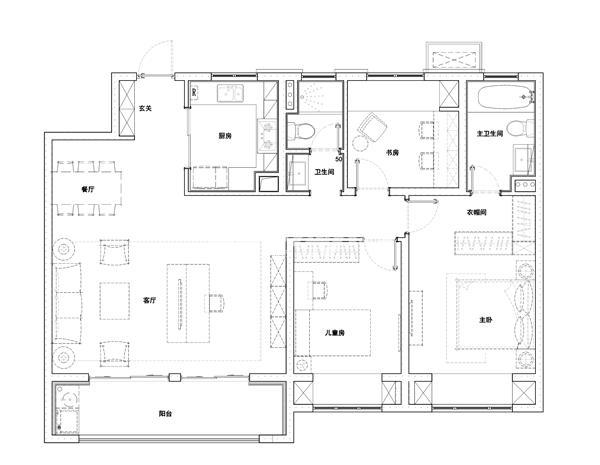 D户型133㎡三室