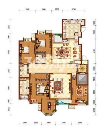 国金华府4室2厅3卫1厨220㎡户型图13#楼