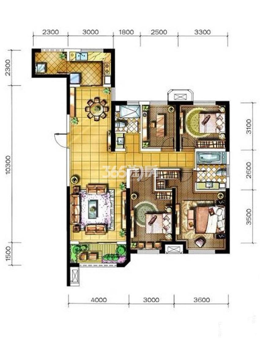 金地南湖艺境E户型4室2厅2卫约135.00平米