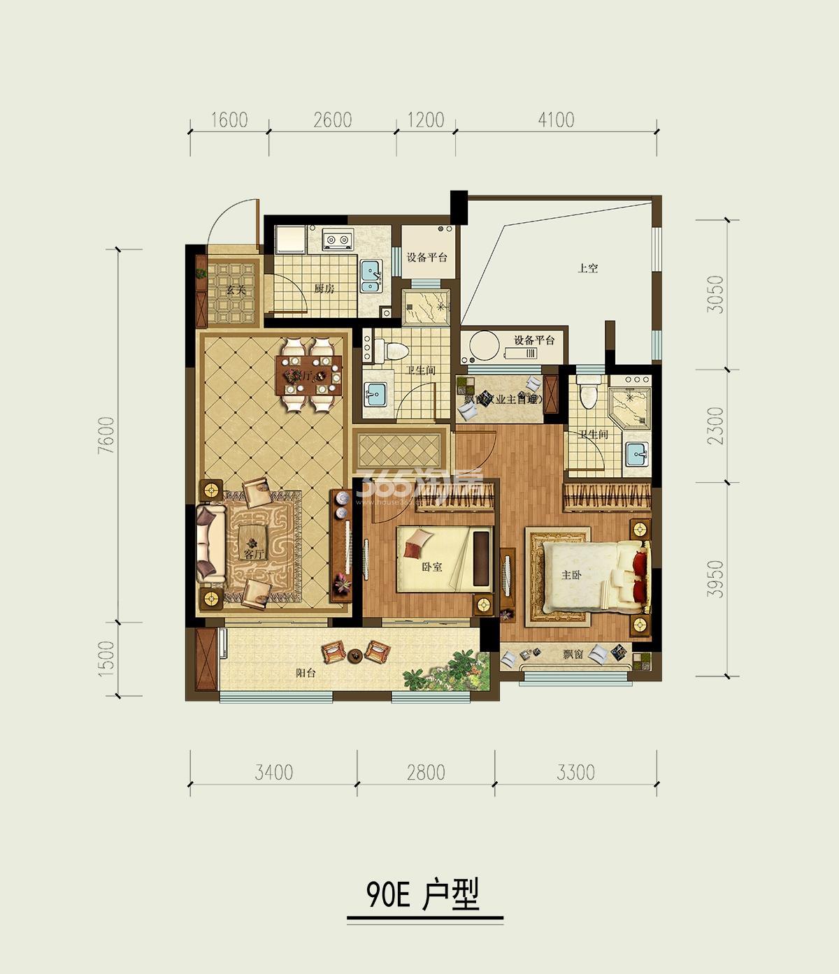 天都城滨沁公寓1、5、7-9、11、12号楼E户型90方