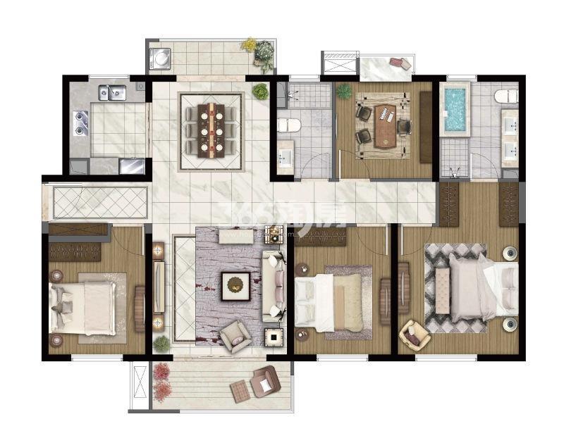 中航国际社区140㎡四室两厅两卫户型图